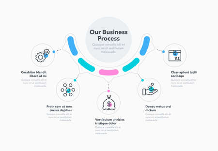 Simple concept for business process diagram with five steps and place for your description. Flat infographic design template for website or presentation.