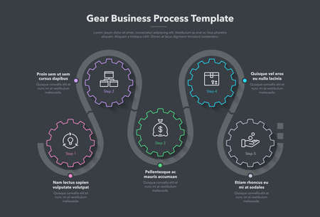 Modern gear business process template with 5 steps - dark version. Easy to use for your website or presentation.