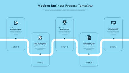 Modern business process template with 5 steps - blue version. Easy to use for your website or presentation.