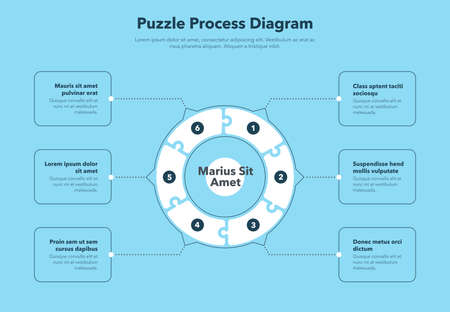 Simple concept for puzzle process diagram with six steps and place for your description - blue version. Flat infographic design template for website or presentation. Vector Illustration