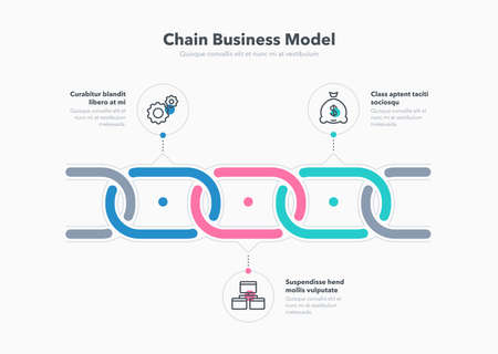 Simple infographic for chain business model with 3 process steps. Flat design, easy to use for your website or presentation.