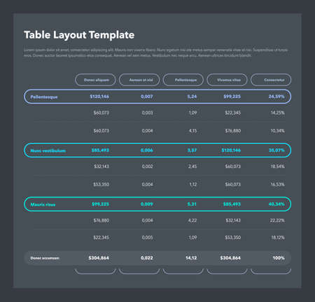 Modern business table layout template with the total sum row and place for your content - dark version. Flat design, easy to use for your website or presentation. Ilustracje wektorowe
