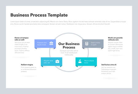Modern business process template with 4 steps. Easy to use for your website or presentation.