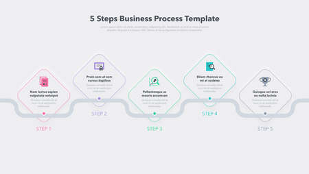 Modern business process template with 5 steps. Easy to use for your website or presentation.