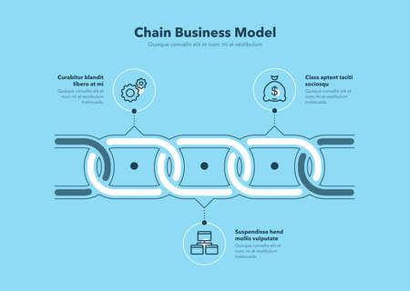 Simple infographic for chain business model with 3 process steps - blue version. Flat design, easy to use for your website or presentation.