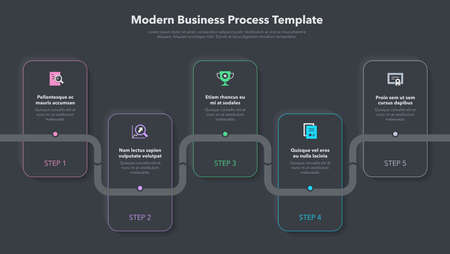 Modern business process template with 5 steps - dark version. Easy to use for your website or presentation.