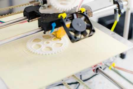 Electronic three dimensional plastic printer during work in school laboratory Stock Photo - 22747346