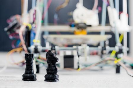 prototype: Electronic three dimensional plastic printer during work in school laboratory  Stock Photo