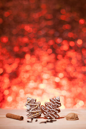 Christmas gingerbread with red blurred background looks like fireworks Stock Photo - 22747411