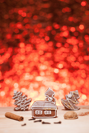 Christmas gingerbread with red blurred background looks like fireworks Stock Photo - 22747415