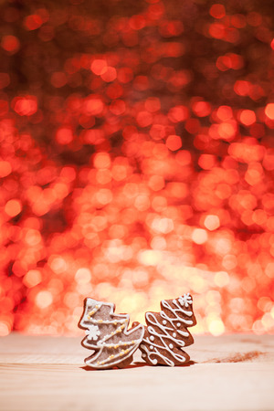 Christmas gingerbread with red blurred background looks like fireworks Stock Photo - 22747423