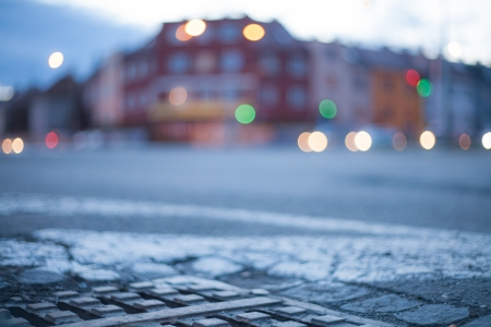 Blurred background - night street with street lights, great for design. Stock Photo - 22747435
