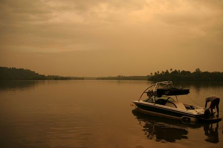 Parking boat at the lake in Sri Lanka photo