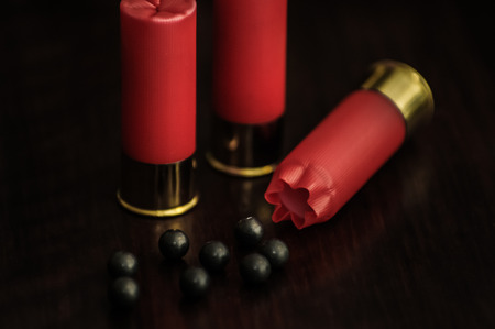 Red shotgun shells on a wooden surface