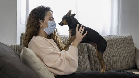 Coronavirus. Young woman playing with her dog in isolation at home, protected from the virus. Pandemic. Social distance Stock Photo