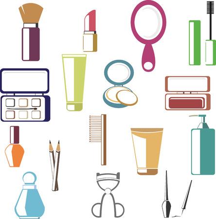 correttore: Set di icone cosmetici colorati in stile appartamento
