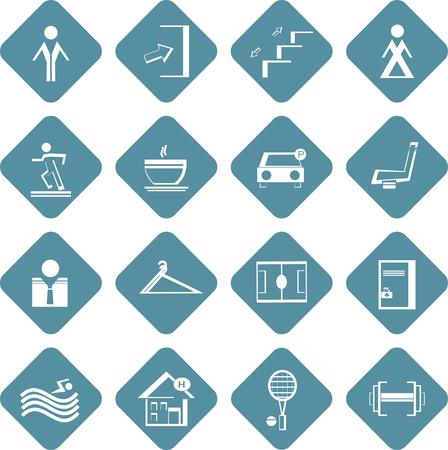 conjunto de símbolos de información planas del centro deportivo