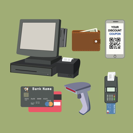 Payment flat icon set. All for business payments. Vectores