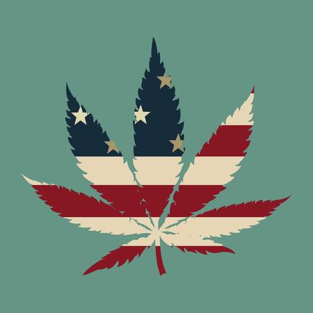 hoja marihuana: Hoja de marihuana con la bandera colores ilustración vectorial EE.UU.