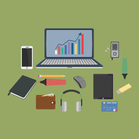 metier: Set of business working elements for digital marketing.Vector Illustration