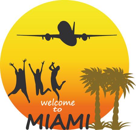 Miami  - vector badge - emblem - summer tropical icon.Vector Illustration Vector