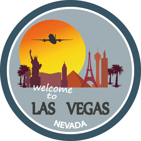 designed travel label, Las Vegas skyline .Vector Illustration