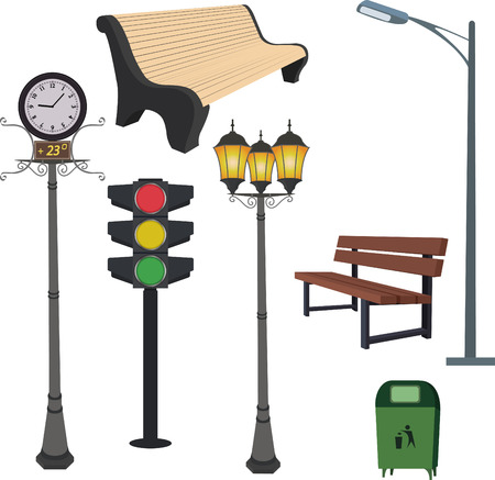 lamppost: City objects: dustbin, lamppost,street hours, traffic light, bench. Vector Illustration Illustration