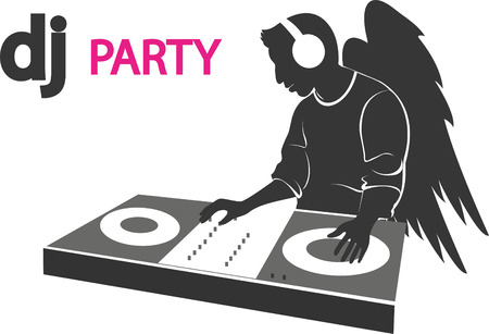 wings vector: the poster of the DJ with wings. Vector Illustration
