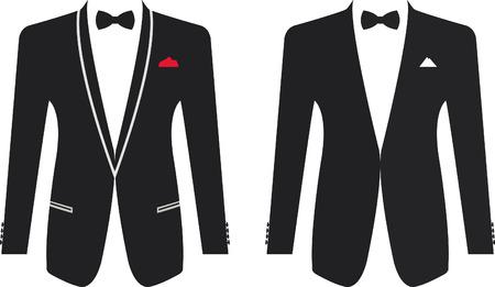 person smoking: Los hombres de traje formal sobre un fondo blanco. Ilustraci�n vectorial