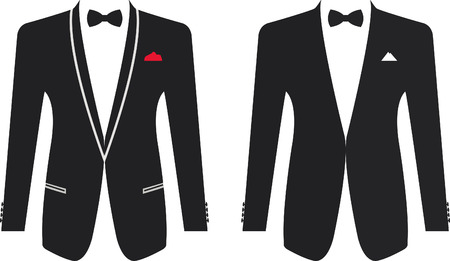 black suit: Men formal suit on a white background. Vector illustration