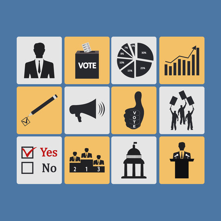 Politics, Voting and elections icons - vector icon set. Vector Illustration Vector