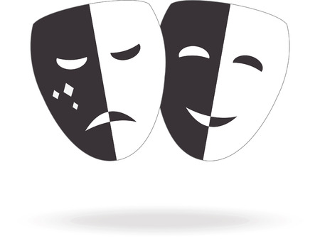 moods: Theater icon with happy and sad masks. Vector Illustration Illustration