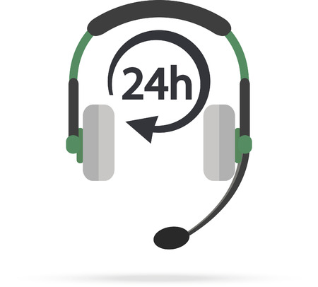 around the clock: Service Call center for customers available online around the clock or 24 hours a day. Vector Illustration
