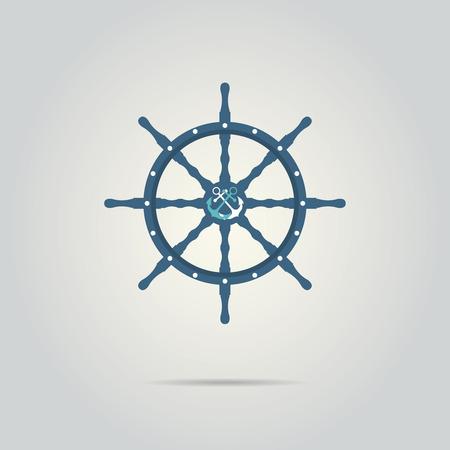 dockyard: Vintage marine card with steering wheel. Vector illustration