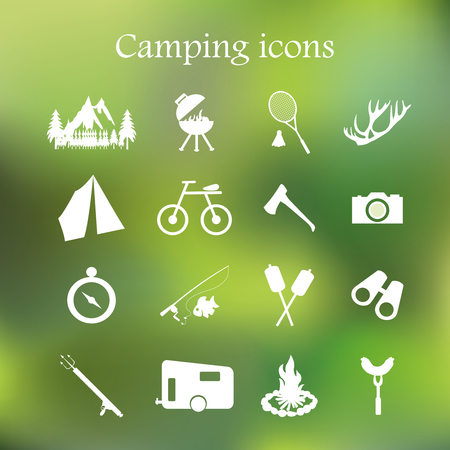 Camping icon set Stock Vector - 39789680