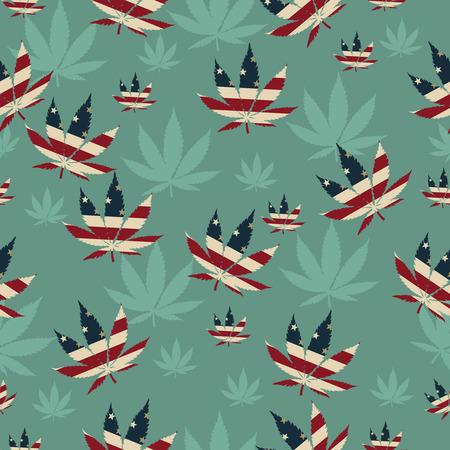hoja marihuana: Hoja de Marihuana con los colores de la bandera americana marihuana Hoja modelo de la repetición de fondo que es transparente y se repite