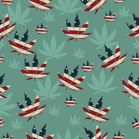 cannabis leaf: Marijuana Leaf with the colors of American flag Marijuana Leaf Pattern Repeat Background that is seamless and repeats Illustration