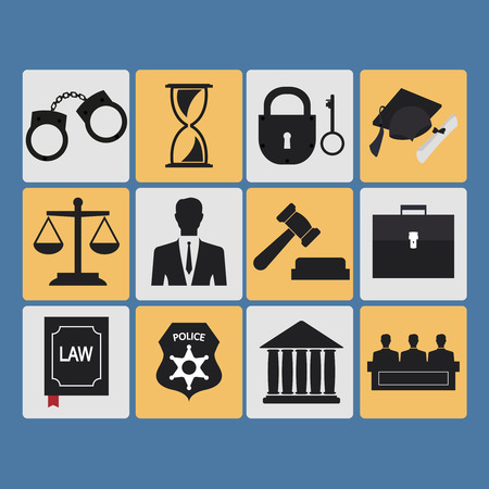 law symbol: Set of law and justice flat icons. Vector Illustration Illustration