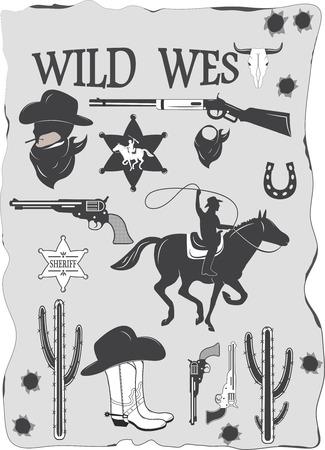 Set of wild west cowboy designed elements Ilustrace