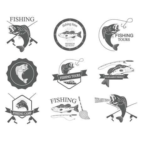 Set of vintage fishing labels badges and design elements. Vector Illustration Vector