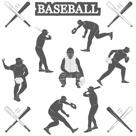 baseman: baseball silhouettes on the white background. Vector Illustration