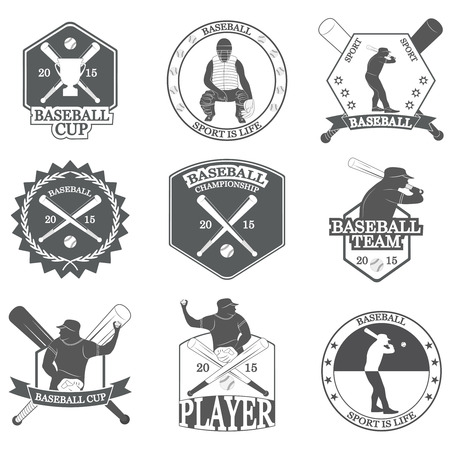 bat and ball: Set of vintage baseball labels and badges. Vector Illustration Illustration