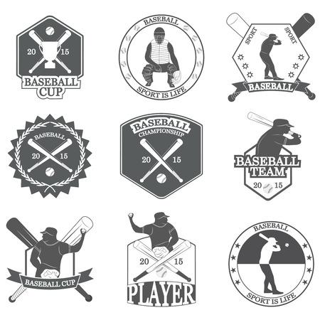 Set of vintage baseball labels and badges. Vector Illustration Illusztráció