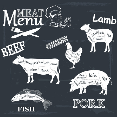 beef meat: Meat menu Set of meat symbols