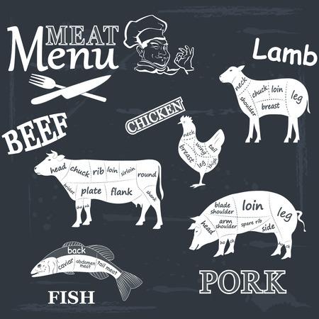 beef burger: Meat menu Set of meat symbols