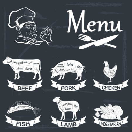 Set of meat symbols, beef, pork, chicken, lamb,fish,vegetables. Vector Illustration