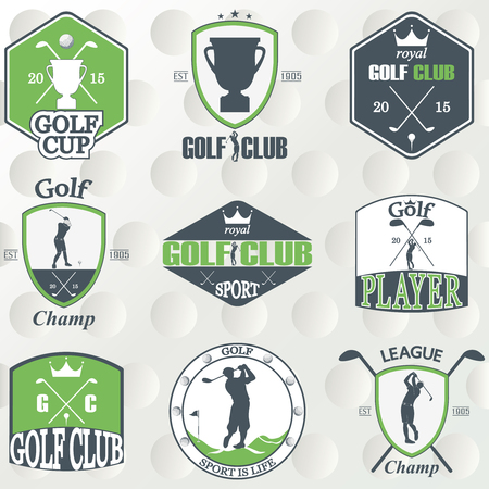 Set of vintage golf labels, badges and emblems. Vector Illustration