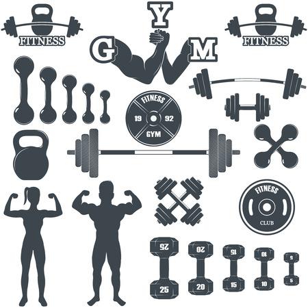 simbolo uomo donna: Vintage Sollevamento pesi Etichette e adesivi. Loghi Gym