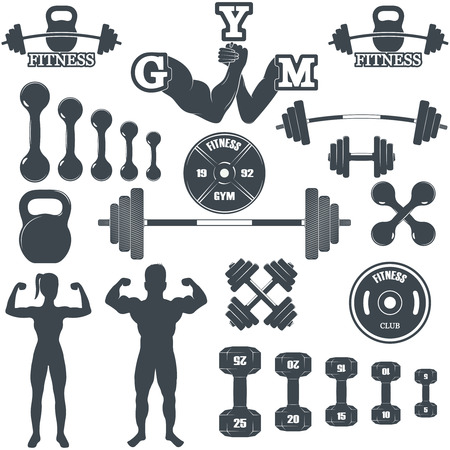exercise equipment: Vintage Weight Lifting Labels and Stickers. Gym logotypes Illustration