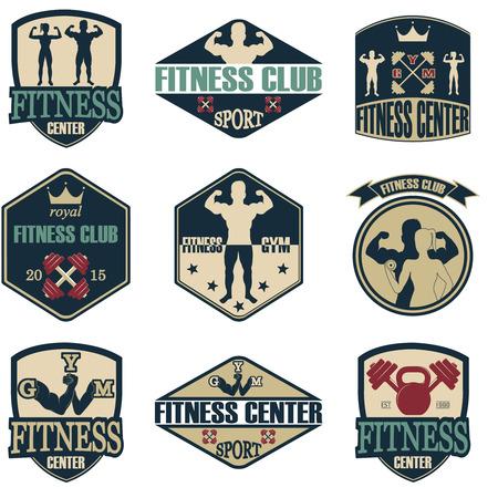 hombre deportista: Iconos gimnasio de fitness. Etiquetas atl�ticos e insignias Vectores